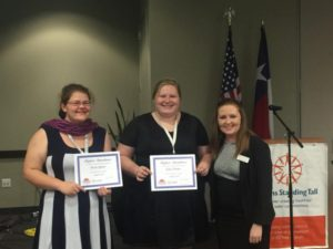 At this year's Statewide Summit, Youth Leadership Council members Taryn Quinn (left) and Katy Turner (middle) were recognized by Youth Engagement Specialist Georgia Marks (right) for their perfect attendance at all YLC meetings.