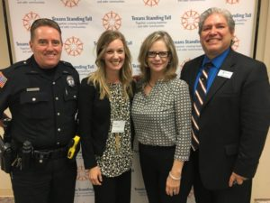 Left to right, Officer Mike Hatfield, Jana Jansson, Barbara Reese, Agapito Chavez at the Garland Regional Forum.